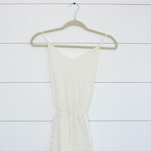 Honey Punch white lace romper size small